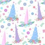 Naadloos zacht patroon met eenhoornhoornen, kronen van bloemen en sterren op een witte achtergrond royalty-vrije illustratie
