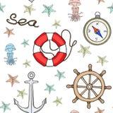 Naadloos zeevaartpatroon vector illustratie