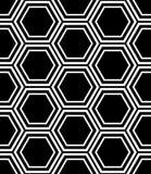 Naadloos zeshoekenpatroon Zwart-witte geometrische textuur en achtergrond royalty-vrije illustratie