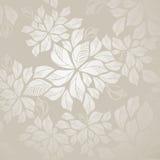 Naadloos zilveren bladerenbehang Stock Fotografie