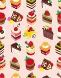Naadloos zoet cakepatroon Royalty-vrije Stock Afbeeldingen