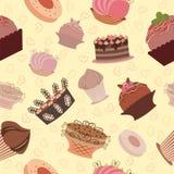 Naadloos zoet cupcakepatroon als achtergrond. Vector Stock Afbeeldingen