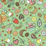 Naadloos zoet theepatroon met verschillend suikergoed Stock Afbeeldingen