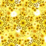 Naadloos zonnebloempatroon stock illustratie