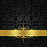 Naadloos zwart bloemenbehang en gouden lint Royalty-vrije Stock Foto's