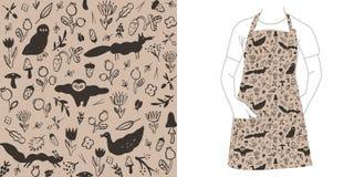 Naadloos zwart patroon met wilde dieren, bloemen, bessen, paddestoelen en insecten stock illustratie