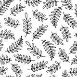 Naadloos zwart-wit bloemenpatroon Leuke druk voor textiel Ha stock illustratie