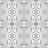 Naadloos Zwart-wit Bloemenpatroon (Vector) Royalty-vrije Stock Afbeeldingen