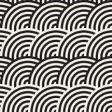 Naadloos zwart-wit geometrisch patroon Abstracte geometrisch Modieuze vector rond gemaakte lijnendruk stock illustratie