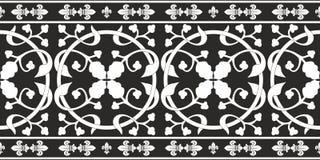 Naadloos zwart-wit gotisch bloemenpatroon Stock Fotografie