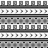 Naadloos zwart-wit Indisch patroon Stock Foto
