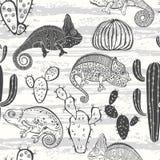 Naadloos zwart-wit patroon met cactus en kameleonen Vectorc royalty-vrije illustratie