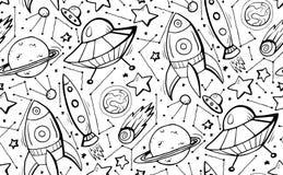 Naadloos zwart-wit patroon met de hand getrokken illustraties van het contourkind van sterren, spaceships en UFO Vectorkrabbeltex stock illustratie
