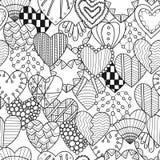 Naadloos zwart, wit patroon met decoratieve harten voor het kleuren van boek vector illustratie