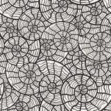 naadloos zwart-wit patroon met overzeese shells Stock Foto