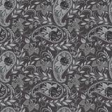 Naadloos zwart-wit patroon met Paisley en rozen Vector af:drukken Stock Foto