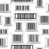 Naadloos zwart-wit patroon met streepjescodes Stock Foto