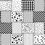 Naadloos zwart-wit patroon van textielstukjes stock illustratie
