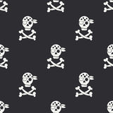 Naadloos zwart-wit vlak patroon met piraatvlag Stock Afbeelding