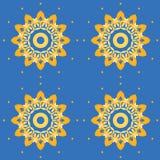 Naadloze abstracte bloesem geeloranje op azuurblauw blauw stock illustratie