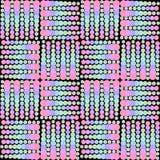 Naadloze abstracte die achtergrond uit vierkanten wordt samengesteld van roze, blauwe en groene cirkels in verschillende grootte  Stock Afbeeldingen