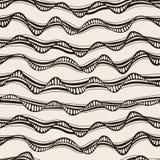 Naadloze abstracte hand-drawn golventextuur Exemplaar dat vierkant aan t Stock Afbeelding
