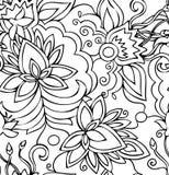 Naadloze abstracte hand-drawn patroonbloemen. royalty-vrije illustratie