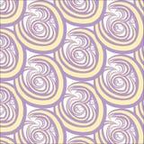 Naadloze abstracte textuur Purpere en gele cirkels, wervelingen op wit, handtekening Stock Afbeelding