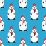 Naadloze achtergrond, bannernieuwjaar of Kerstmis Leuke sneeuwman Modern vlak ontwerp vlak Royalty-vrije Stock Afbeeldingen
