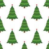 Naadloze Achtergrond De mooie elegante boom van de Kerstmispijnboom Vector illustratie Stock Fotografie