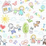 Naadloze achtergrond - gelukkige familie Royalty-vrije Stock Afbeeldingen