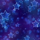 Naadloze achtergrond gloeiende blauwe neonsterren Stock Afbeeldingen