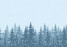 Naadloze achtergrond, Kerstbomen met sneeuw Stock Foto