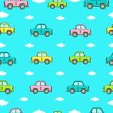 Naadloze achtergrond met auto's van verschillende kleuren Royalty-vrije Stock Foto