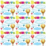 Naadloze achtergrond met ballons en wolken in hemel Stock Fotografie
