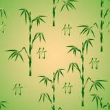Naadloze achtergrond met bamboe en hiëroglief Royalty-vrije Stock Afbeelding