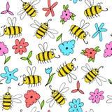 Naadloze achtergrond met bijen en bloemen Royalty-vrije Stock Fotografie