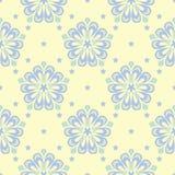 Naadloze achtergrond met bloemenpatroon Beige achtergrond met lichtblauwe en groene bloemelementen Royalty-vrije Stock Foto