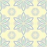 Naadloze achtergrond met bloemenpatroon Beige achtergrond met lichtblauwe en groene bloemelementen stock illustratie