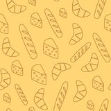 Naadloze achtergrond met brood en kaas Stock Afbeelding