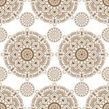 Naadloze achtergrond met bruine van het kantbuta van de mehndi bloemenhenna de decoratiepunten op witte achtergrond in Indische s royalty-vrije illustratie