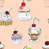 Naadloze achtergrond met cake Stock Foto's