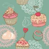 Naadloze Achtergrond met Cakes Stock Afbeeldingen