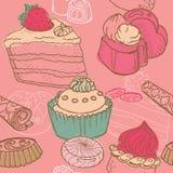 Naadloze Achtergrond met Cakes Royalty-vrije Stock Fotografie