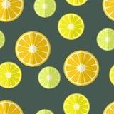 Naadloze achtergrond met citrusvruchten in vlak ontwerp royalty-vrije illustratie