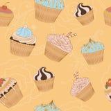 Naadloze achtergrond met cupcakes Stock Fotografie