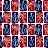 Naadloze achtergrond met de engelen en de Kerstbomen vector illustratie