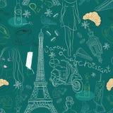 Naadloze achtergrond met de krabbels van Parijs Stock Foto