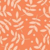 Naadloze achtergrond met decoratieve branche, bladeren en stippen Vector Illustratie