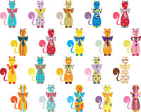 Naadloze achtergrond met decoratieve elegante katten Stock Illustratie